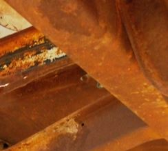 Example of surface rust - needs to power washed and cleaned and painted with a rust retardant product.