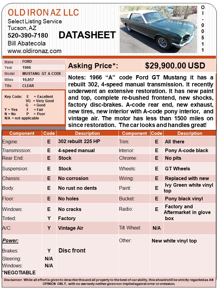 1966 Ford Mustang OI-00511_DATASHEET